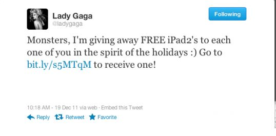 Lady Gaga's original hacked tweet