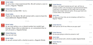 Complaint on Airtel India's Fb page
